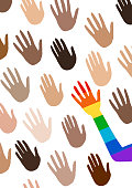 Poster with multi ethnic group hands and telling about gender equality. The flag of the spectrum of pride, homosexuality, the emblem of equality. Parades event announcement banner, poster.