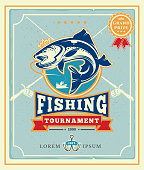 Vector illustration of a poster with the announcement of the fishing tournamen
