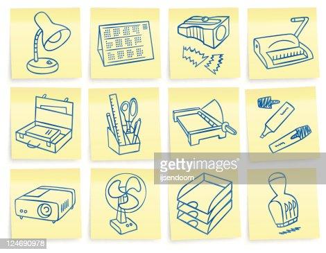 Büromaterial clipart  Postit Büromaterial Symbole Vektorgrafik   Thinkstock