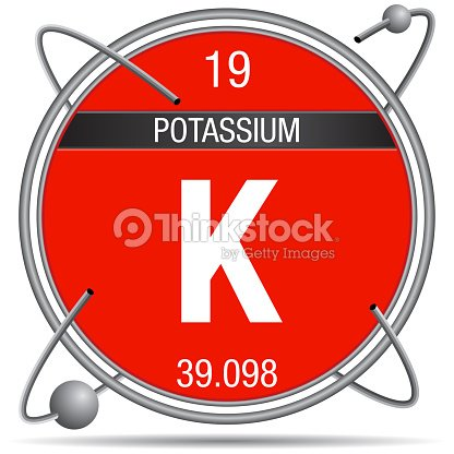 Potassium symbol inside a metal ring with colored background and potassium symbol inside a metal ring with colored background and spheres orbiting around element number 19 of the periodic table of the elements urtaz Image collections