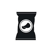 Potato chips bag icon in simple style on a white background