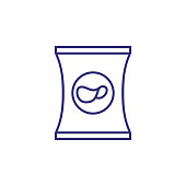 Potato chips line icon. Package, nacho, fast food. Unhealthy eating concept. Vector illustration can be used for topics like party, condiment, snack