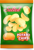 Potato chips salted, packaging design. Reaalistic 3d icon illustration.