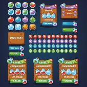 Potion maker, bubble shooter, match 3, large vector cartoon collection, characters, elements, GUI, UI  for your own mobile game