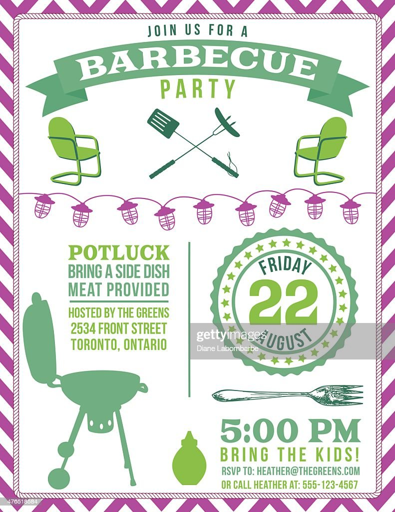 potluck barbecue vertical party invitation poster in green