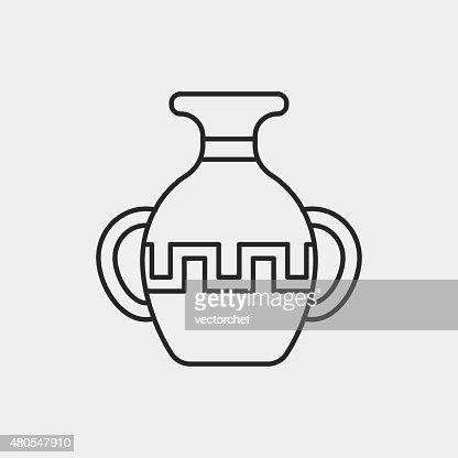 pottery line icon : Vector Art
