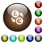 Pound Euro money exchange white icons on round color glass buttons