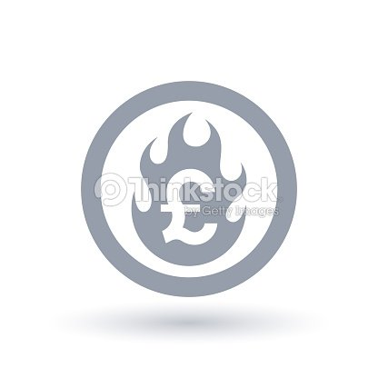 Pound Flame Icon Fire Burning British Currency Symbol Vector Art