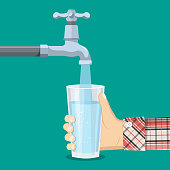 Pour water into the glass from the tap. Cup of purified water holding in hand. Man drinking healthy beverage. Person filling up a glass. Vector illustration in flat style