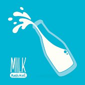 Pouring milk in a glass bottle on blue background, vector illustration