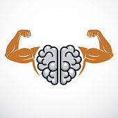 Power Brain emblem, genius concept. Vector design of human anatomical brain with strong bicep hands of bodybuilder. Brain training, grow IQ, mental health.