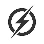 Power lightning logo icon. Vector electric fast thunder bolt symbol isolated on transparent background