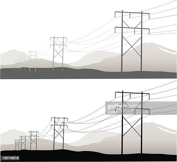 Power Lines Vector Silhouette
