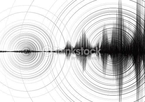 Macht Der Erdbebenwelle Mit Kreis Vibration Auf Weißem ...