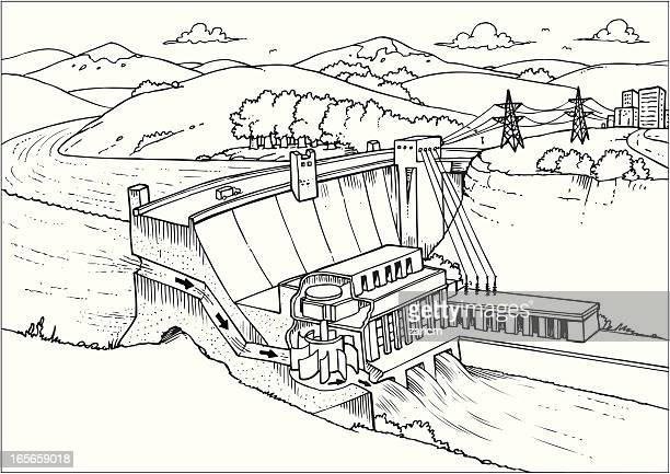 Hydroelectric Power Station Stock Illustrations And