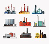 Power plant icons in flat style and long shadow. Nuclear power plant and chemical plant, old factory and modern plant.   Detailed flat style.