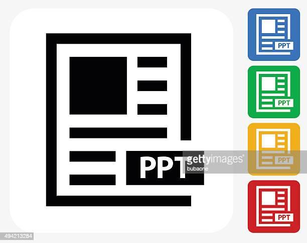 Power Point testo icona piatto di Design grafico