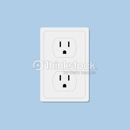 Power socket isolated on blue background : stock vector