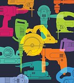 colourful overlapping silhouettes power tools for
