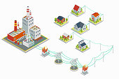Powerhouse and electric energy distribution vector infographic. 3D isometric concept. Electricity industrial, industry power station, voltage electrical illustration