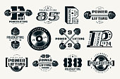 Powerlifting emblems and badges. Graphic design for t-shirt. Black print on white background