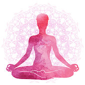 Practicing yoga, relaxation and meditation. Watercolor Silhouette, vector illustration