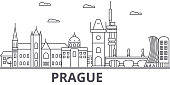 Prague architecture line skyline illustration. Linear vector cityscape with famous landmarks, city sights, design icons. Editable strokes