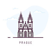 Prague city line style illustration. Old and famous Church of Our Lady before Tyn in Prague. Czech architecture city symbol of Czech Republic. Outline building vector illustration. Travel banner.