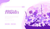 Praying Mantis vector landing page template. Entomology website design. Bugs and beetles exhibition web banner with copy space. Insects species webpage idea. Monochrome minimalistic illustration