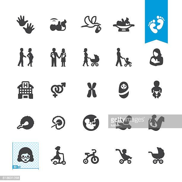 Pregnancy and Babies vector icons
