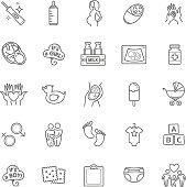 Pregnancy and motherhood vector icons set. Newborn, child care, healthy pregnancy thin line web icons