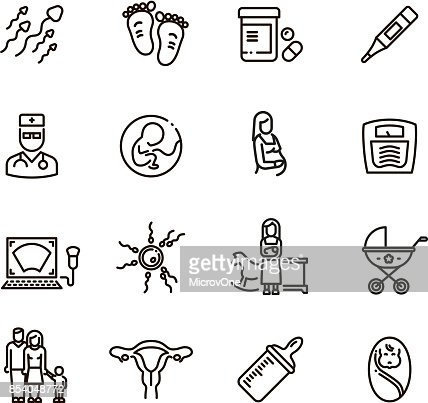 Pregnancy and newborn child line vector icons. Motherhood and infant baby pictograms : stock vector