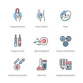 Pregnancy, obstetrics and gynecology symbols. Thin line art icons with flat colorful design elements. Pregnant woman, fetus, medical tools. Modern linear style illustrations isolated on white.