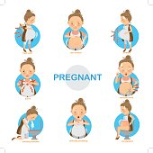 Pregnant women are common the discomfort isolated on white background.vector illustration