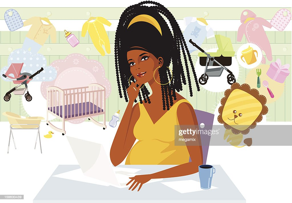 Pregnant lady buying online. : Vector Art