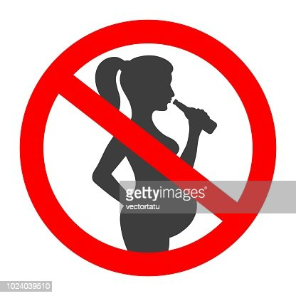 Pregnant no drink sign : stock vector
