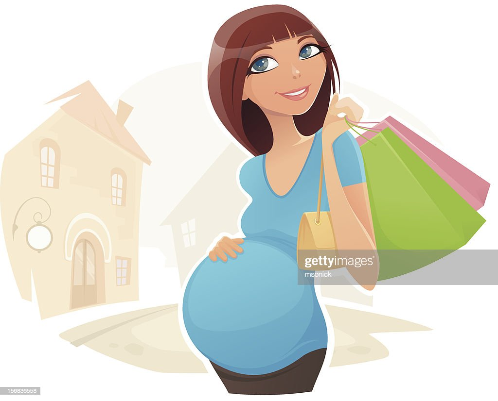 Pregnant Shopper : Arte vectorial