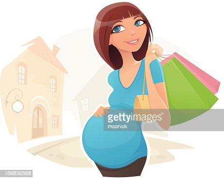 Pregnant Shopper : Vector Art