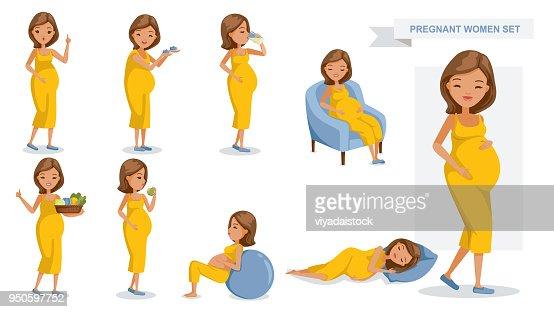 Pregnant women : stock vector