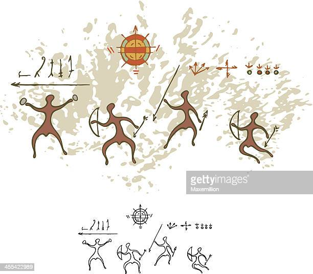 Prehistoric Cave Painting Warriors