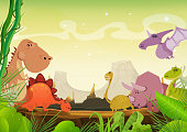 Illustration of a cartoon prehistoric landscape with dinosaurs, vegetation and volcano mountains