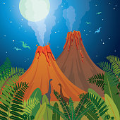 Two cartoon active volcanoes, green ferns and silhouette of dinosaurs on a night blue starry sky with full moon. Prehistoric landscape. Nature vector illustration with extinct animals.