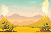 Two smoking volcanoes with lava, yellow grass, green extinct plants, silhouette of pterodactyls and mountains on a blue sky. Prehistoric nature landscape. Vector illustration.
