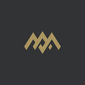 Premium AM or MA letters logo design. Creative elegant curve vector logotype. Luxury linear creative monogram. Combined letters M and A.