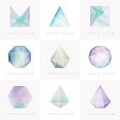 premium colorful collection set of trendy soft mesh facet crystal gem geometric design icons and abstract shapes for business visual identity- triangle, polygons and rectangular designs