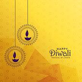 premium diwali greeting card design with diya decoration