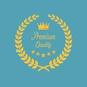 Premium quality golden laurel wreath. Symbol of victory and achievement