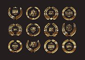 Premium gold quality laurel wreath collection for design of labels, badges and other guarantees