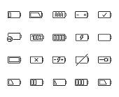Premium set of battery line icons. Simple pictograms pack. Stroke vector illustration on a white background. Modern outline style icons collection.