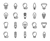Premium set of bulb line icons. Simple pictograms pack. Stroke vector illustration on a white background. Modern outline style icons collection.